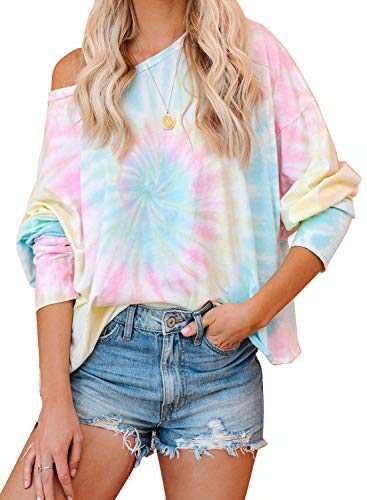 Aleumdr Women's Casual Color Block Tie Dye Sweatshirt Crewneck Long Sleeve Loose Pullover Tops Sky Blue Small 4 6