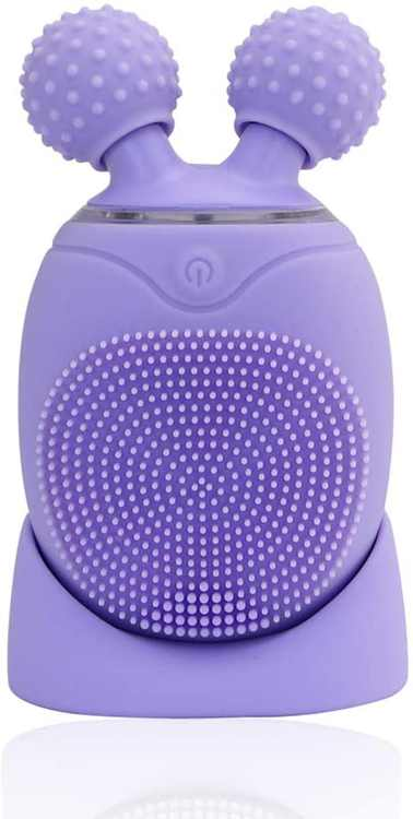 Warmray Leaf Sonic Facial Cleansing Brush and Face Massager with Timer, Memory Function, Rechargeable Silicone Anti-aging Face Cleanser and 3D Facial Lifting Rollers for All Skin Types (Violet)