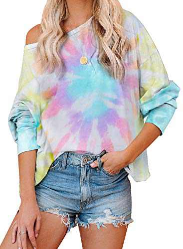 Aleumdr Women's Fall Long Sleeve Oversized Baggy Tie Dye Tunic Shirts Fashion One Off The Shoulder Tops and Blouses Multicolor XX-Large 18 20