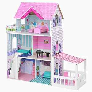 BABLE Wooden Dollhouse for 3-9 Year Olds Girls, Dollhouse with Furniture for Small Space, Beautiful Modern Space-Saving Design Dollhouse for Dolls, 3 Levels, 5 Rooms, 2 Balconies, 34 x12 x34 in