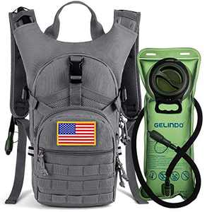 Gelindo Military Tactical Hydration Backpack with 2L Water Bladder Light Weight, MOLLE Tactical Assault Pack for Hiking Biking Running Walking Climbing Outdoor Travel Grey