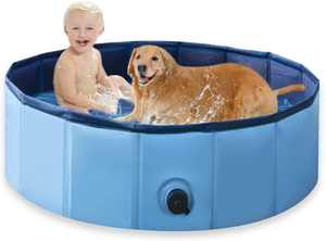 Udream Foldable Dog Pool Pet Bathing Tube Small 80x20cm Puppy Cats Paddling Pool for Pets & Kids,Sturdy Dog Swimming Pool with Pet Bath Brush Children Bathtube Bathing Pool For Garden Patio Bathroom