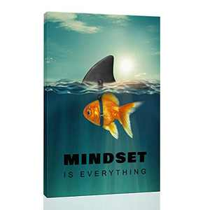 """Inspirational Wall Art Posters for Home Office, College Dorm, Motivational Quote Decor Canvas, Encouraging Positive Growth Mindset Quotes for Classroom (12""""W x 18""""H Mindset Gold Fish Shark)"""