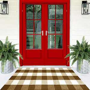 Welcome Mats for Front Door - Buffalo Plaid Rug 23x51 - Cotton Welcome Mat for Home Decor - Large Door Mat - Entryway Rug for Front Door Decor - Brown Outdoor Rug