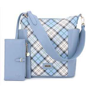 Women Handbag Designer Leather Hobo Handbags Shoulder Bucket Crossbody Purse 2PCs (KL7193G#W8328#2#F728#95 -L.BLUE/BLUE)