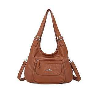 angel kiss Satchel Handbag for Women, Ultra Soft Washed Vegan Leather Crossbody Bag, Shoulder Bag, Tote Purse (RU603#998#129BROWN)