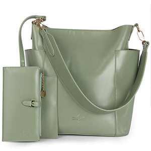 Women Handbag Designer Leather Hobo Handbags Shoulder Bucket Crossbody Purse 2PCs (K.EYRE#KL7193#F825#26-MINT GREEN)