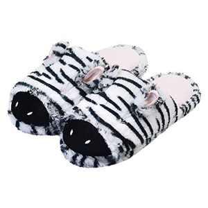 Women Slippers Zebra Cute Animal Memory Foam Indoor Slippers Bedroom House Shoes 5-6 US Black White