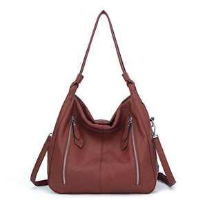 Women Handbags Shoulder Bags PU Leather Satchel Tote Bag Mutipocket Purse (K.EYRE#KL7215#U8388#860-Maple Red)