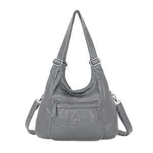 angel kiss Satchel Handbag for Women, Ultra Soft Washed Vegan Leather Crossbody Bag, Shoulder Bag, Tote Purse (RU603#998#98GREY)