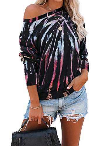 EVALESS Women Tie Dye Sweatshirt Off Shoulder Shirt Long Sleeve Pullover Tops Multicolor S