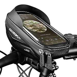 Bike Phone Mount Bags, Waterproof Bicycle Handlebar Bags, Bike Front Frame Top Tube, Touch Screen Phone Holder Case Bicycle Bike Storage Bag Cycling Pack, for iPhone 7 8 Plus xs max, etc, Below 6.5''