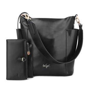 Women Handbag Designer Leather Hobo Handbags Shoulder Bucket Crossbody Purse 4PCs (K.EYRE#KL7193#F825#1-BLACK)