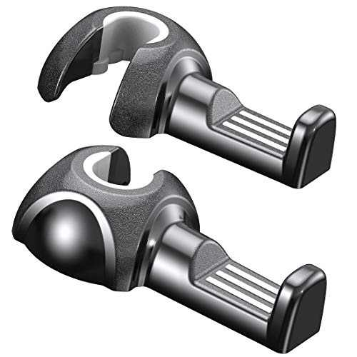Car Hooks, 2 Pack Purse Hook for car with ABS Silicone, Hold up to 30 lb, Black,Humixx