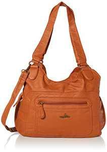 angel kiss Satchel Handbag for Women, Ultra Soft Washed Vegan Leather Crossbody Bag, Shoulder Bag, Tote Purse (RU601#173#BROWN)
