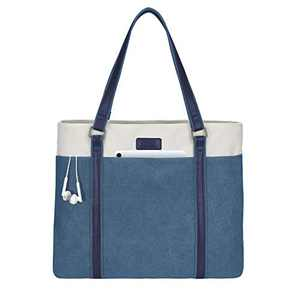 LIVACASA Laptop Tote Bag Women Fits 15.6 Inch Shoulder Bag Water Resistant Multi Use Stylish Handbag Blue