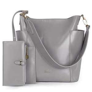 Women Handbag Designer Leather Hobo Handbags Shoulder Bucket Crossbody Purse 2PCs (K.EYRE#KL7193#F825#33-ETOUPE)