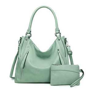 Women Handbags Shoulder Bags PU Leather Satchel Tote Bag Mutipocket Purse (K.EYRE#KL7219#U8388#718-L.GREEN)