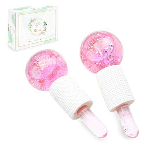 PaveTW Ice Globes For Facials - Facial Globes for Face & Eye Puffiness Relief - Ice Globe Massager Increase Collagen Production, Reduce Fine Lines and Wrinkles for Face, Eye, Neck (Pink)