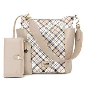 Women Handbag Designer Leather Hobo Handbags Shoulder Bucket Crossbody Purse 2PCs (KL7193G#W8328#1#F825#35 -APRICOT/CREAM)