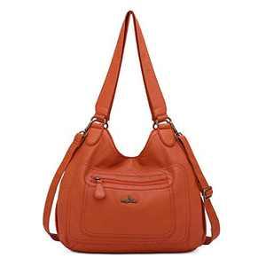 angel kiss Satchel Handbag for Women, Ultra Soft Washed Vegan Leather Crossbody Bag, Shoulder Bag, Tote Purse (RU601#107RUST)
