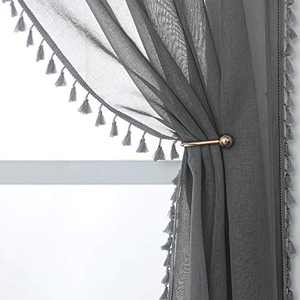 YoungsTex Linen Look Sheer Curtains - Grommet Top Tassels Voile Semi Sheer Drapes for Living Room and Bedroom, 2 Panels, 52 x 84 Inch, Grey