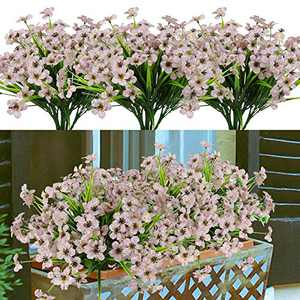 8 Bundles Artificial Flowers Outdoor UV Resistant Fake Flowers No Fade Faux Plastic Greenery Plants for Hanging Planter Garden Porch Window Box Patio Home Decoration (White)