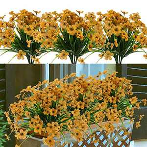 8 Bundles Artificial Flowers Outdoor UV Resistant Fake Flowers No Fade Faux Plastic Greenery Plants for Hanging Planter Garden Porch Window Box Patio Home Decoration (Yellow)