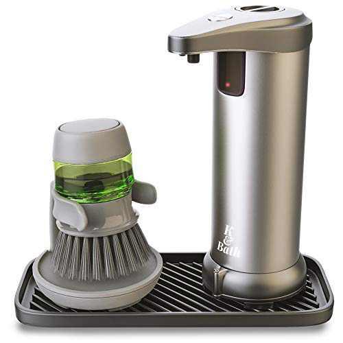 K&BATH Automatic Soap Dispenser touchless with Sponge Holder and Soap Dispensing Brush | Silicone Tray | Touchless Soap Dispenser for Bathroom, Kitchen | Hand Sanitizer Dispenser | No Touch Design