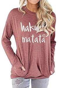 Women's Cute Letter Printed Comfy Tunic Tops Long Sleeve Graphic T-shirts Cotton Sweatshirts Blouses with Pockets Brick Red