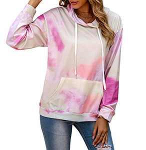 REVETRO Women Fall Long Sleeve Hooded Tops Casual Crew Neck Tie Dye Sweatshirt Pullover Shirt Tunic Mint Large