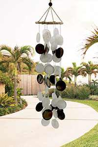 Coconut Shell Wind Chimes Outdoor, White Shell Wind Chimes for Outside, Memorial Wind Chime with S Hook, Handmade Chimes Gifts for Housewarming/Patio, Garden, Yard Decoration.