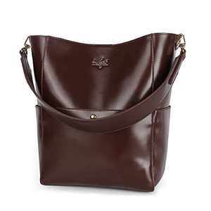 Women Handbag Designer Leather Hobo Handbags Shoulder Bucket Crossbody Purse 4PCs (K.EYRE#KL2240-1#F825#3-CHOCOLATE)