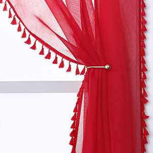 YoungsTex Linen Look Sheer Curtains - Grommet Top Tassels Voile Semi Sheer Drapes for Living Room and Bedroom, 2 Panels, 52 x 72 Inch, Red