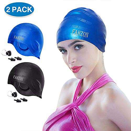 FAHZON Unisex Swim Cap Cover Ears,Skin-Friendly Waterproof Silicone Swimming Caps for Women Men Adults Kids,Fit Both Long Hair Short Hair,Black and Blue[2-Pack]