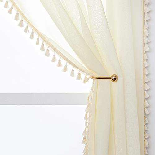 YoungsTex Linen Look Sheer Curtains - Grommet Top Tassels Voile Semi Sheer Drapes for Living Room and Bedroom, 2 Panels, 52 x 72 Inch, Beige