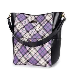 Women Handbag Designer Leather Hobo Handbags Shoulder Bucket Crossbody Purse 2PCs (KL2240-1G#W8328#7#F825#1 -PURPLE/BLACK)
