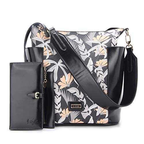Women Handbag Designer Leather Hobo Handbags Shoulder Bucket Crossbody Purse 4PCs (KL7193H#33-404#33#F825#1-BLA GREY/BLA)