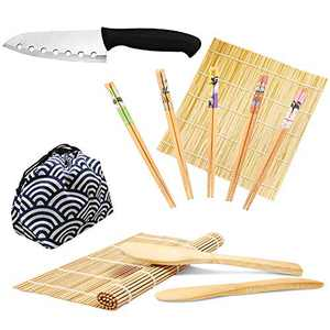 Sushi Making Kit - Original Bamboo Kit with Sushi Chef Knife, 2 Rolling Mats, Rice Spreader & Paddle, 5 Pairs Chopsticks, Storage Bag & Beginner Guide PDF for DIY at Home (Wave)