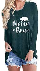 Women Mama Bear Graphic T-Shirts Cotton Long Sleeve O-Neck Cute Letter Print Comfy Loose Blouse Tops Tees