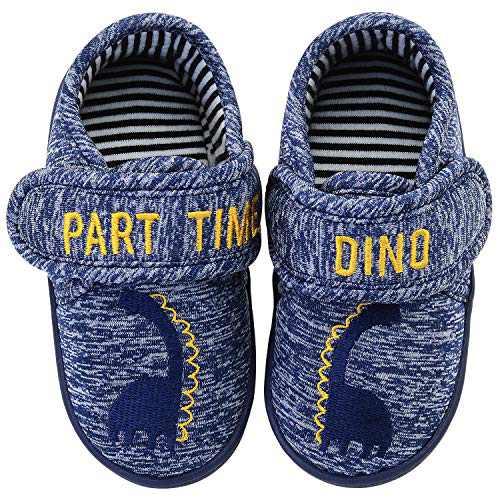 Vonair Boys Slippers Toddler Dinosaur Indoor Outdoor Cartoon House Shoes Slip-on Kids Bedroom Slippers Little Kid US 13 Blue