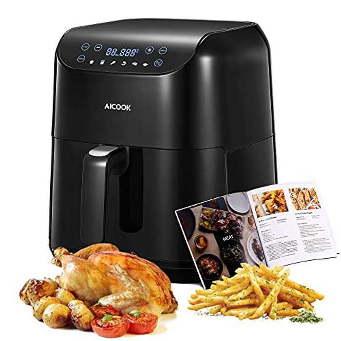 Air Fryer for Home Use Large, 5.5L 2021 Professional 1700W Oil-Free Air Fryer Oven, LED Touch Screen, 6 Preset Functions, Recipe Book, Adjustable Time and Temperature, Easy to Clean, No BPA
