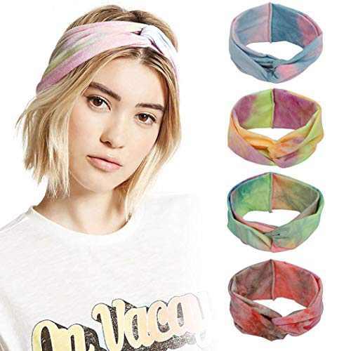 Urieo Yoga Cross Headbands Tie Dye Running Head Wraps Elastic Wide Sports Head Scraf for Women and Girls (Pack of 4)
