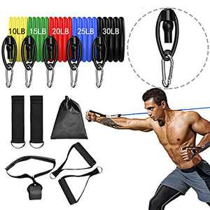 JUKOO Resistance Bands Set Exercise Workout Bands with Handles 5 Stackable Resistance Bands with Door Anchor Ankle Straps Carrying Case for Working Out Training Yoga Exercise Bands for Legs and Butt