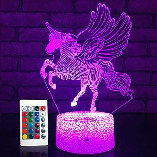 SETIFUNI Unicorn Gifts for Girls Unicorn Night Light with Remote & Smart Touch 16 Colors + 7 Colors Changing Dimmable Unicorn Toys for 5 6 7 8 9 10 Year Old Girl
