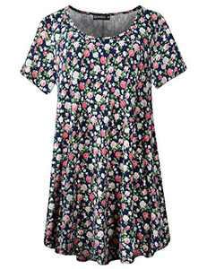 ZENNILO Women Casual Loose Fit Swing Flare Tunic Tops Basic Plus Size Flowy Shirt