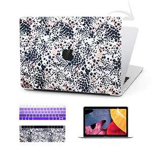 TIMOCY Laptop Case for MacBook Pro 13 Keyboard Cover Plastic Hard Shell Touch Bar 4 in 1 Bundle with Screen Protector for Mac Pro 13 Inch (Model:A1706/A1708/A1989), Leopard Print