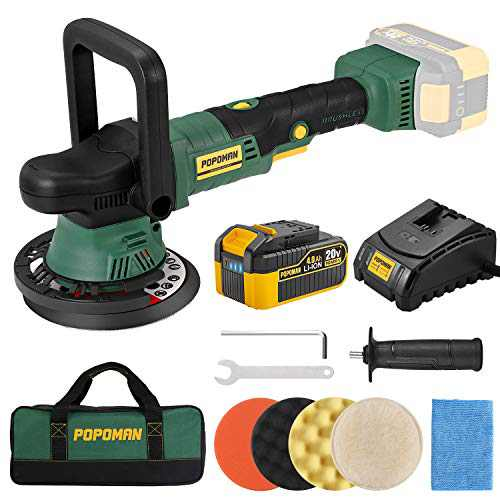 Brushless Cordless Polisher POPOMAN, 20V 4.0Ah Battery, 6 Inch Orbit 1500-5500 OPM Portable Buffer Polisher with 6 Variable Speed, 4 Sponge Pads, Tool Bag for Car Polishing, Waxing-PMPO01D