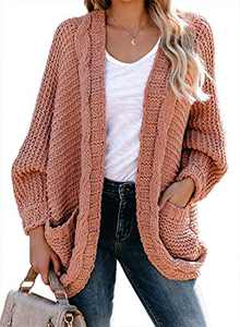 Dokotoo Womens Plus Size Oversized Winter Warm Cozy Open Front Pockets Solid Loose Long Sleeve Chunky Cable Knited Cardigan Sweater Coats Jackets Pullover Sweater Pink XX-Large