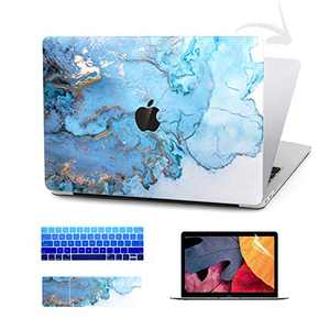 Timocy Hard Case Compatible with MacBook Pro 13 Inch – Marble Laptop Case with Keyboard Cover, Screen Protector, Touch Pads Sticker – Enhanced Protection – Gorgeous Designs,Abstract Blue
